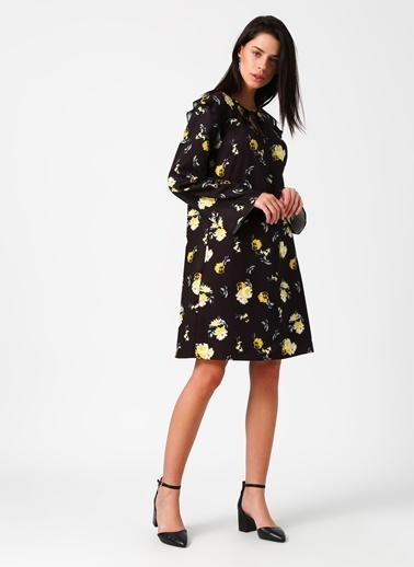 Limon Company Uzun Kollu Çiçekli Elbise Siyah